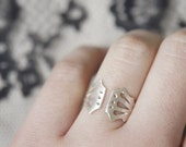 LINGERIE RING 003 - Sterling Silver - Hand Cut by Gemagenta - White or Blackened, Corset, Lace Lingerie, Romantic
