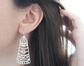 BARAKA Silver Earrings - Moroccan Sugar Collection - Handmade, tribal, bohemian, henna tattoo, bridal earrings, magic
