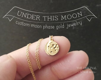 UNDER THIS MOON / Solid 14k Gold Personalized moon phase necklace, push present, anniversary gift, engraved jewelry, custom gift, birth moon