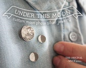 UNDER THIS MOON / Personalized moon phase brooch, lapel pin, tie pin in Sterling Silver