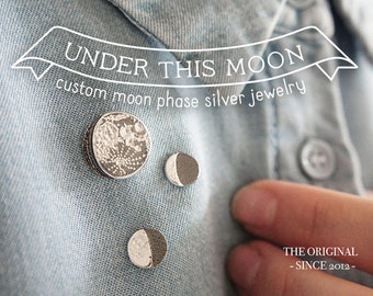 UNDER THIS MOON / Personalized moon phase brooch, moon lapel pin, custom birth moon, gift for him, realistic moon, custom engraved jewelry
