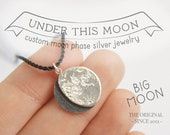 big UNDER THIS MOON / Necklace - Customised lunar phase pendant of your special night in silver and silk, realistic silver moon phase