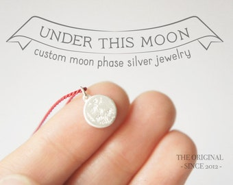 UNDER THIS MOON / Custom moon phase necklace in Silver and Silk, custom gift for astronomy lovers, celestial jewelry