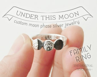UNDER THIS MOON / Family Ring - Multiple moon phases ring depicting the birth moon of your loved ones, family gift, family heirloom