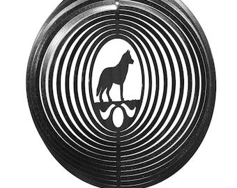 SWEN Products SIBERIAN HUSKY Dog Circle BLACK Swirly COMBO Metal Wind Spinner