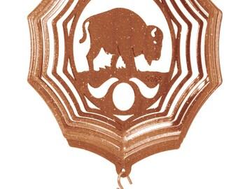 Brown Bison Image Metal Spinning Keyring in Gift Box