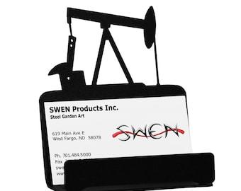 Metal business card holder etsy oil pump jack rig metal business card holder reheart Image collections