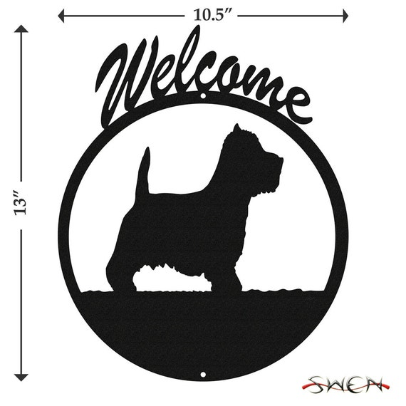 SWEN Products WESTIE TERRIER Dog Circle BLACK Swirly COMBO Metal Wind Spinner
