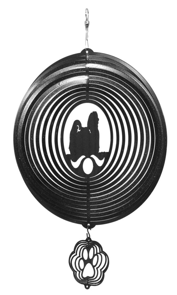 Maltese Dog RED Metal Swirly Sphere Wind Spinner *NEW*