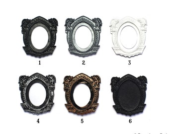 Set of 2 Gothic Gargoyle Open Back Vintage Style Frame 6 Color Choices for Cabochon....39mm x 65mm 30mm x 40mm