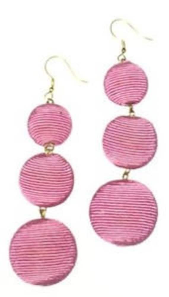Handmade. Earrings Les Bonbons Three ball earrings white and pink color