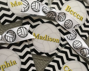 volleyball bag tag with white ball and fancy script initial etsy