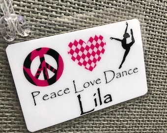 Personalized Girls Dance Bag Tag Dance Teacher Gift Dancer Gift Dance Recital Gift Dance Party Favor Dancing Bag Tag Kids Bag Tag Gift Tag