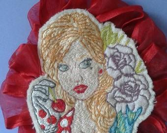 retro lady pin/hair clip
