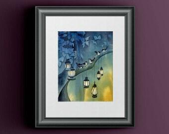 Bird Watercolor Blue Nature, Chickadee Bird Lover Gift, Winter Wife Gift, Winter Night Art, Blue Animal Nursery Art