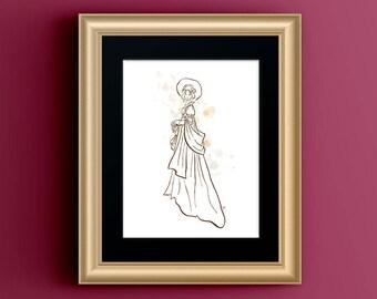 Jane Austen Wall Art, Bookworm for Her, Jane Austen Gifts, Pride and Prejudice Literary Gift Print, Jane Austen Fashion Sketch Regency Dress