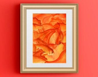 Goldfish Watercolor, Goldfish Art, Koi Fish New Job Gift, Work from Home Decor, Orange Room Decor, Goldfish Painting