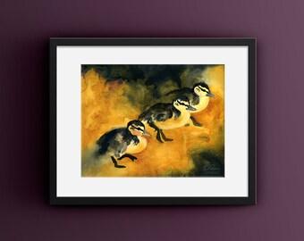 Baby Bird Watercolor, Baby Farm Animal Art,  Yellow Gray Painting, Duckling Art, Barnyard Animals Art