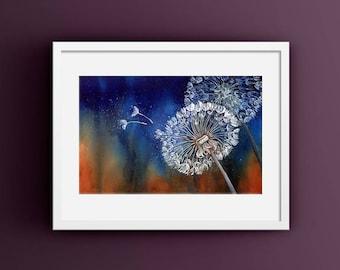 Dandelion Wall Art, Dark Blue Wall Art for Living Room, Dandelion Print, Make A Wish Art, Blue Dandelion Art Print, Blue Botanical Print