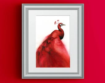 Red Peacock Print, Peacock Painting, Red Painting Gift, Abstract Red Decor, Red Modern Painting, Exotic Bird Watercolor, Peacock Feathers