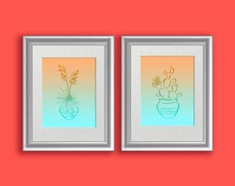 Cactus Print Set, Boho Teal Decor, Prickly Pear Southwestern Decor, Yucca Cactus Wall Art, Cute Cactus Gift, Trending Now Prints