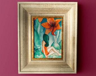 Boho Girl Art, Fashion Flower Art, Orange Teal Salon Decor, Meditation Art, Amaryllis Watercolor Orange Flower Painting