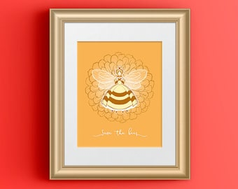 Save the Bees Art Print, Honey Bee Gifts for Women, Queen Bee Decor, Beekeeper Gift, Environment