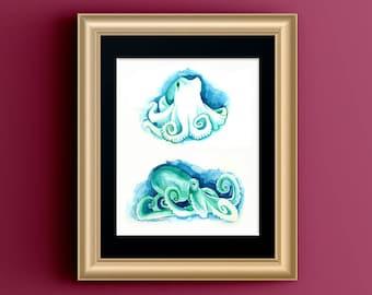Octopus Art, Bathroom Beach Art, Pick Me Up Gift, Octopus Watercolor, Octopus Bathroom Art, Blue Octopus Print, Tentacles Wall Decor