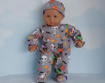 Bitty Baby handmade doll clothes -  Halloween Sleeper and Cap