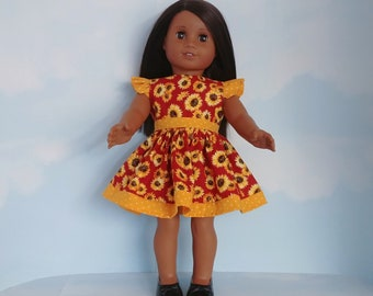 18 inch doll clothes handmade to fit american girl - Sunflower Ruffled Dress