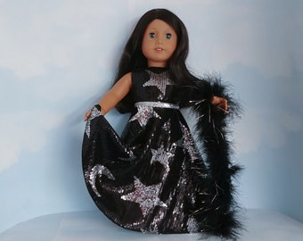 18 inch doll clothes handmade to fit american girl - Black Sequin Gown with Silver Moon/Stars and Boa - #211