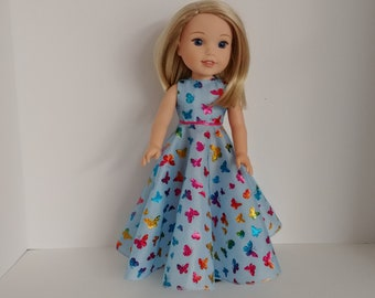 Dress for  Light Blue Dress with Butterfly Decoration Doll Beautiful V!