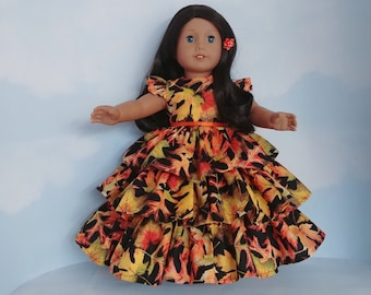 18 inch doll clothes handmade to fit American girl - Autumn Leaves Ruffled Gown