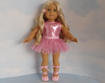 18 inch doll clothes handmade to fit american girl - Pink Ballet Outfit includes skirt/leotard/shoes