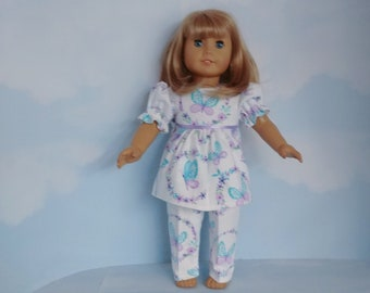 18 inch handmade doll clothes to fit american girl - Aqua/Purple Butterfly Flannel Pajamas