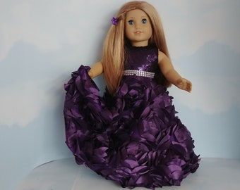 18 inch doll clothes handmade to fit American girl doll - Egplant Ribbon Rose Gown