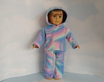 18 inch doll clothes handmade to fit the American girl doll -  Rainbow Fleece Pant Outfit