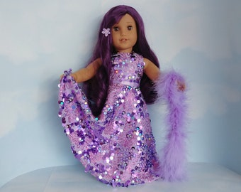 18 inch doll clothes handmade to fit american girl - Lavender Floppy Sequin Gown and Boa