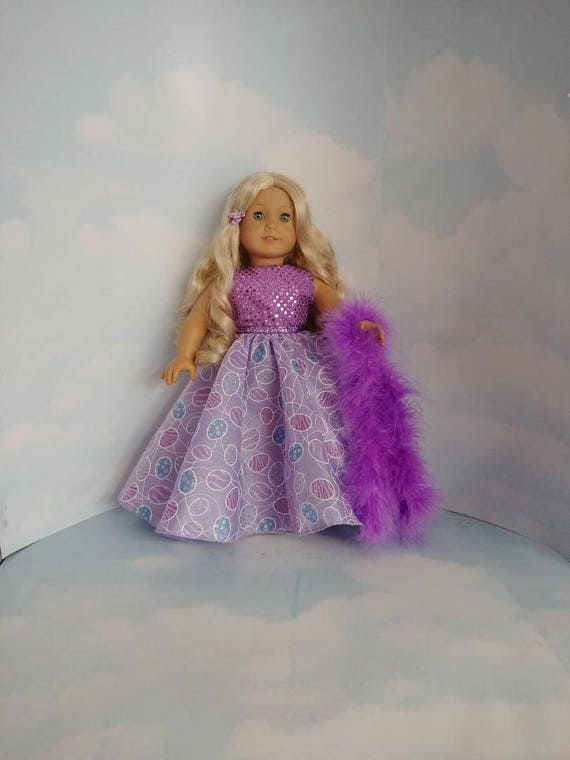 Extravagant Ball Gown in Purple with Sequins Designed for 18 Inch Dolls