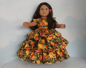 18 inch doll clothes handmade to fit American girl - Golden Pumpkins  Ruffled Gown