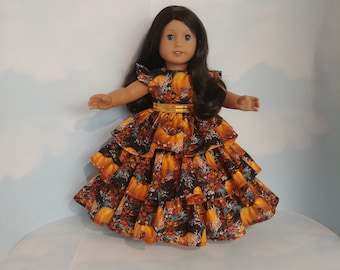 18 inch doll clothes handmade to fit American girl - Pumpkin Ruffled Gown