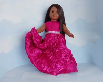 18 inch doll clothes handmade to fit American girl doll - Very Berry Ribbon Rose Gown