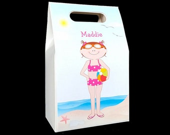 Kids beach party favors (set of 6 boxes) swim party   beach party   birthday favors box   personalized gift box   candy boxes for kids