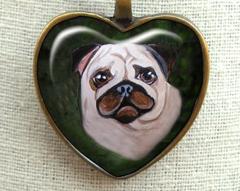 Fawn Pug Necklace ~ Pug Valentine ~ Heart Pendant ~ Original Art Necklace ~ Fawn Pug ~ Sweetheart Gif ~ Pet Keepsake