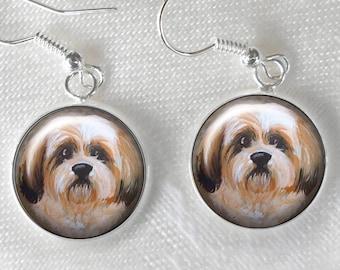 SHITZU DOG GLASS CABOCHON STUD EARRINGS 12MM