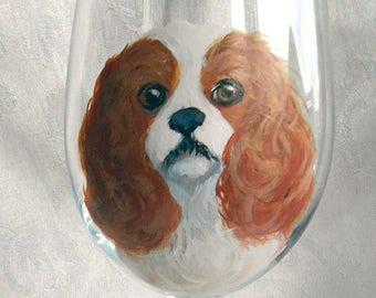 Hand Painted Cavi Wine Glass ~ Cavalier King Charles Spaniel ~ Cavi Keepsake ~ Anniversary Gift ~ May Birthday ~ Ready to Ship