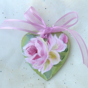 Wooden Heart Handpainted Pink Rose Heart Ornament Personalize Cottage Style OOAK Gifts Pink Ornaments