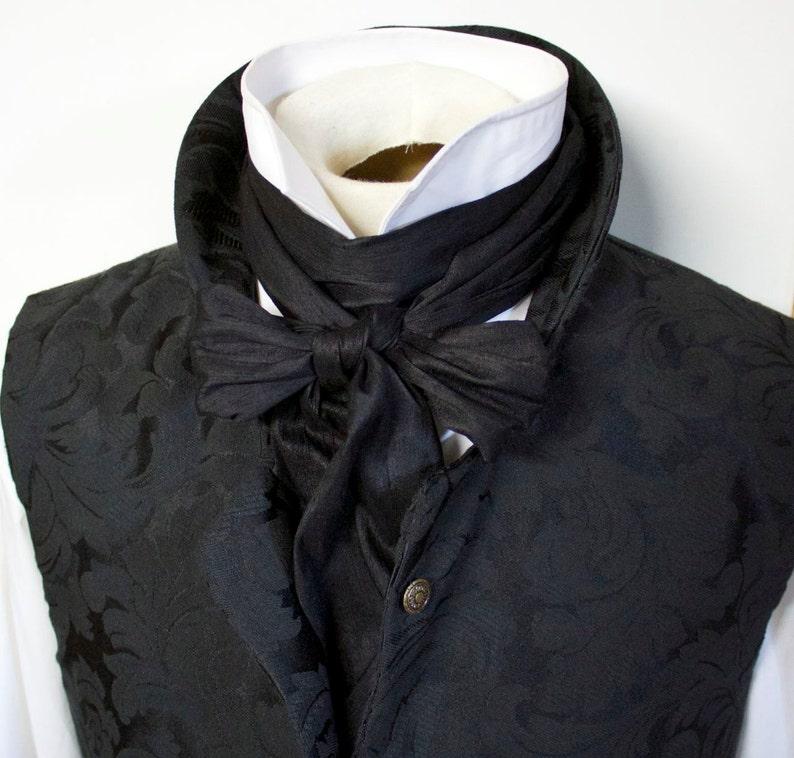 eaa6a8594dea Extra Long Slim REGENCY Tie Ascot Cravat Midnight Black   Etsy