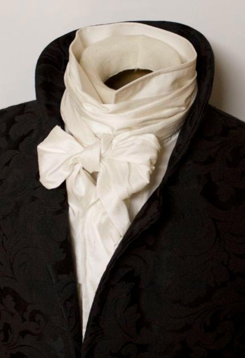 2a5b206e7050 Extra Long Slim REGENCY Tie Ascot Cravat Pure White Dupioni   Etsy