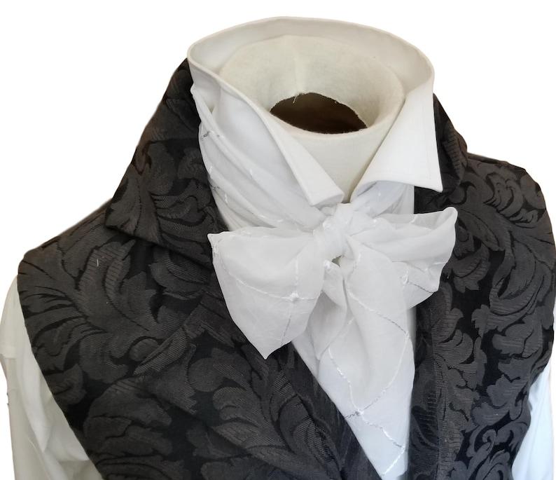 afa6a631c4df Embroidered sheer Slim REGENCY Tie Ascot Cravat Necktie   Etsy